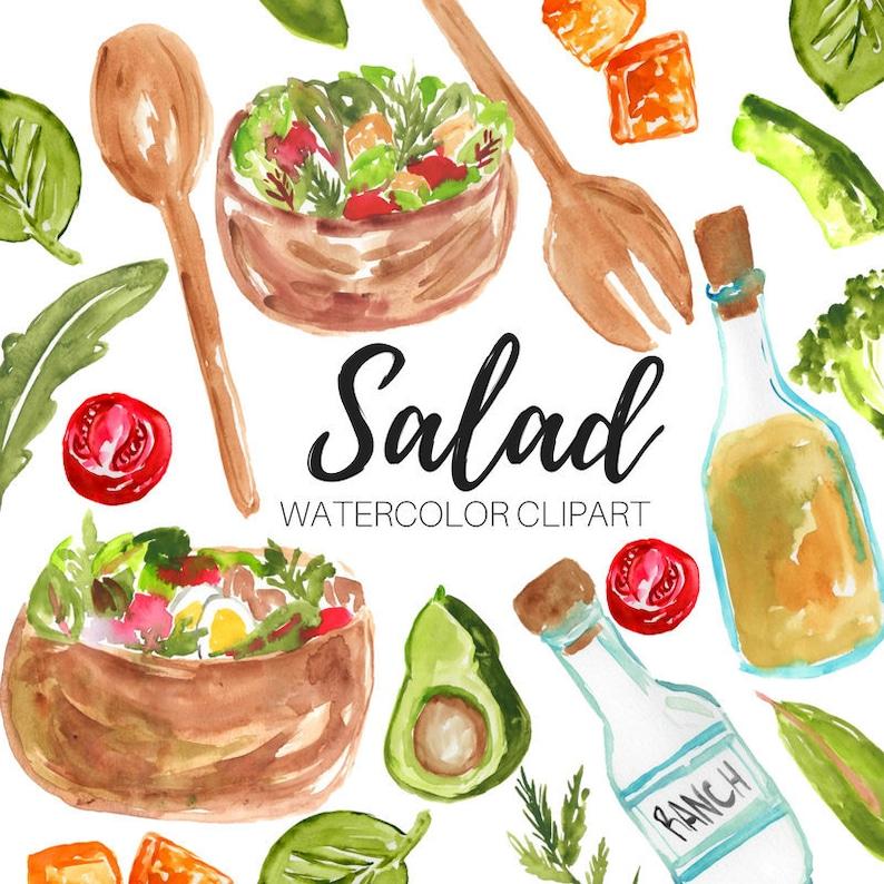 Salad Clipart Food Clipart Brunch Clipart Watercolor Etsy
