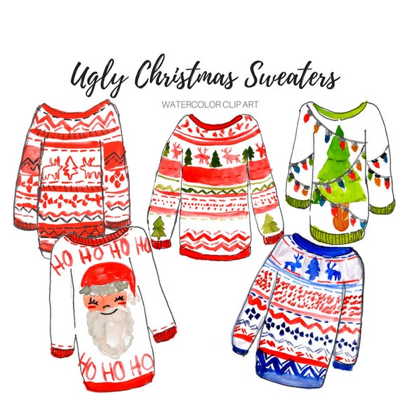 Christmas Sweater Clipart.Ugly Christmas Sweater Clipart Watercolor Fashion Clothing Winter Clothes Holiday Party Commercial Use