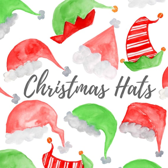 Christmas Hat Clipart.Christmas Clipart Watercolor Christmas Hat Clipart Santa Hat Elf Northpole Holiday Graphics Commercial Use