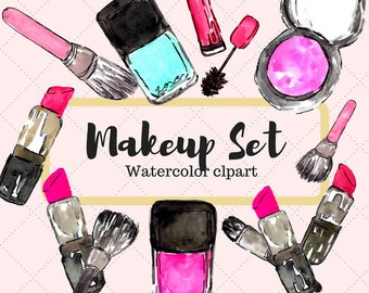 Makeup Clipart - Fashion Clipart - Girly Clipart - Blog Clipart - Lipstick Clipart - Makeup Brush Clipart - Cosmetic clipart