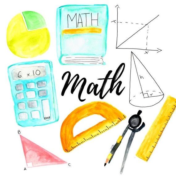 Watercolor Math clipart back to school school illustration | Etsy
