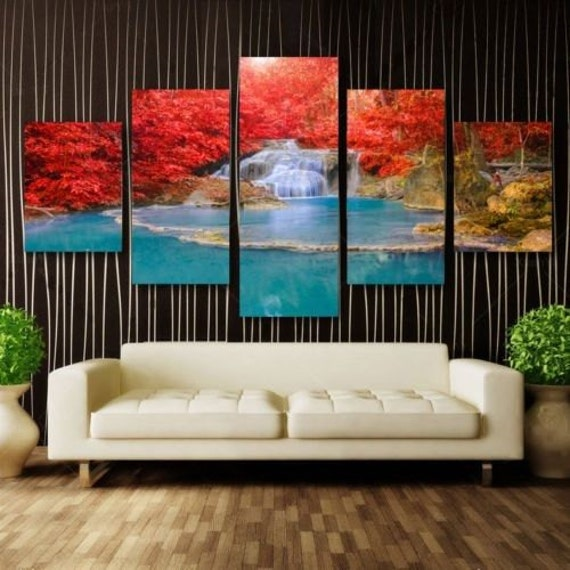 LARGE SPLIT FRAMED CANVAS PRINTS !! Forrest Waterfall Modern Art Painting