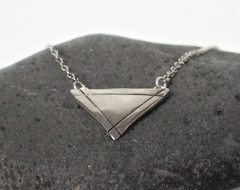 Oxidized silver triangle pendant - geometric silver necklace - hostess gift - edgy jewelry - handmade in Wyoming - modern rustic necklace