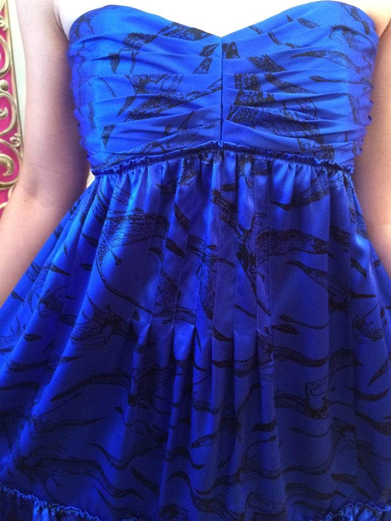 Vintage  90/'s Betsey Johnson Blue Satin Pterodactyl Strapless babydoll dress