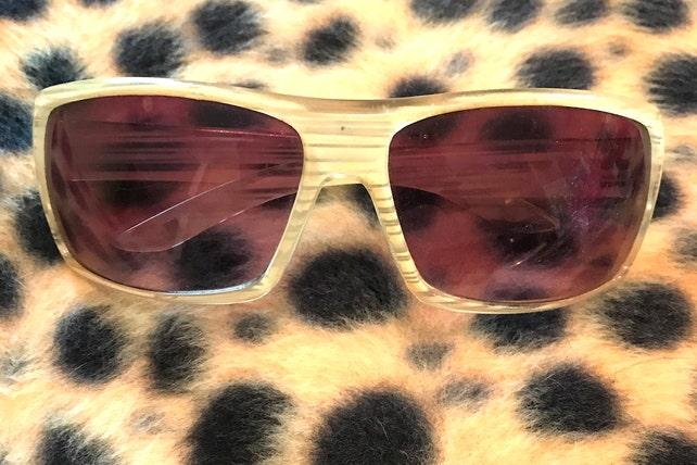236a21271d Vintage 1970s Foster Grant Sunglasses Zebra Stripedish Tinted