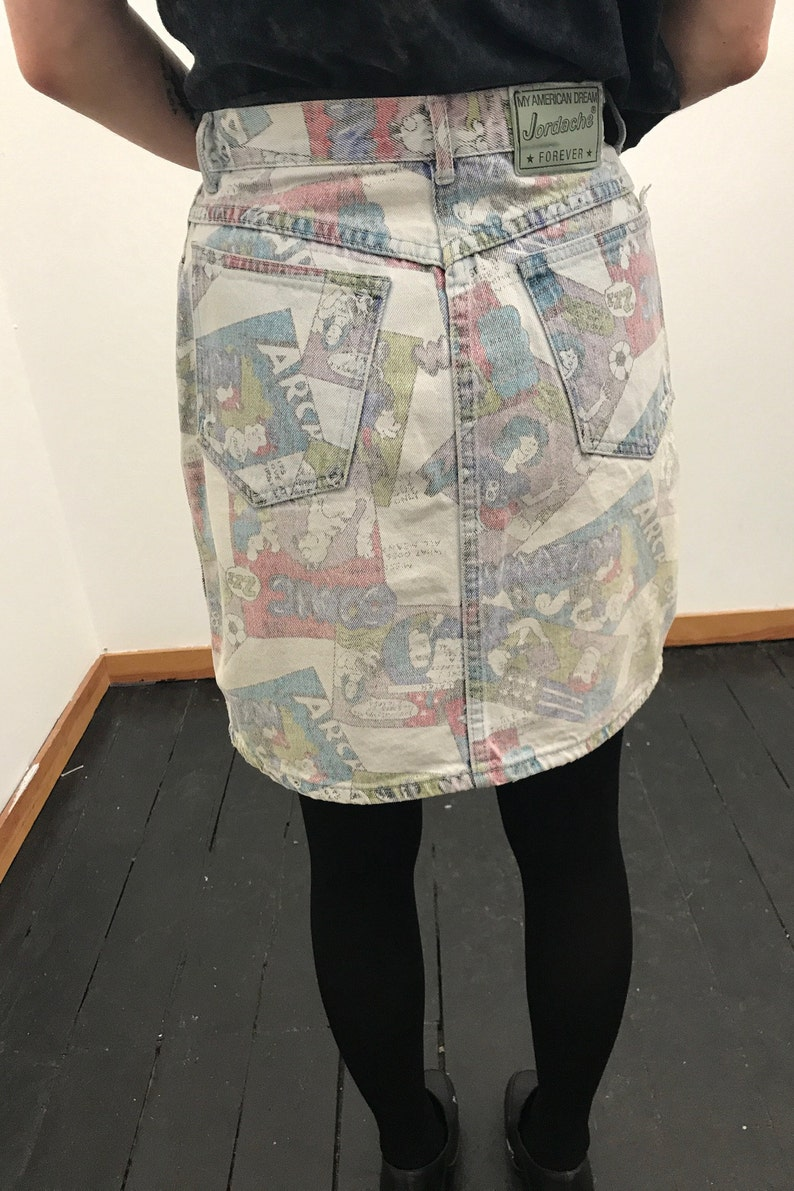 Vintage 1980s Jordache Denim Mini Skirt Comic Book Print Archie Theme Sz 11 Punk New Wave Groovy Mod Goth Rocker