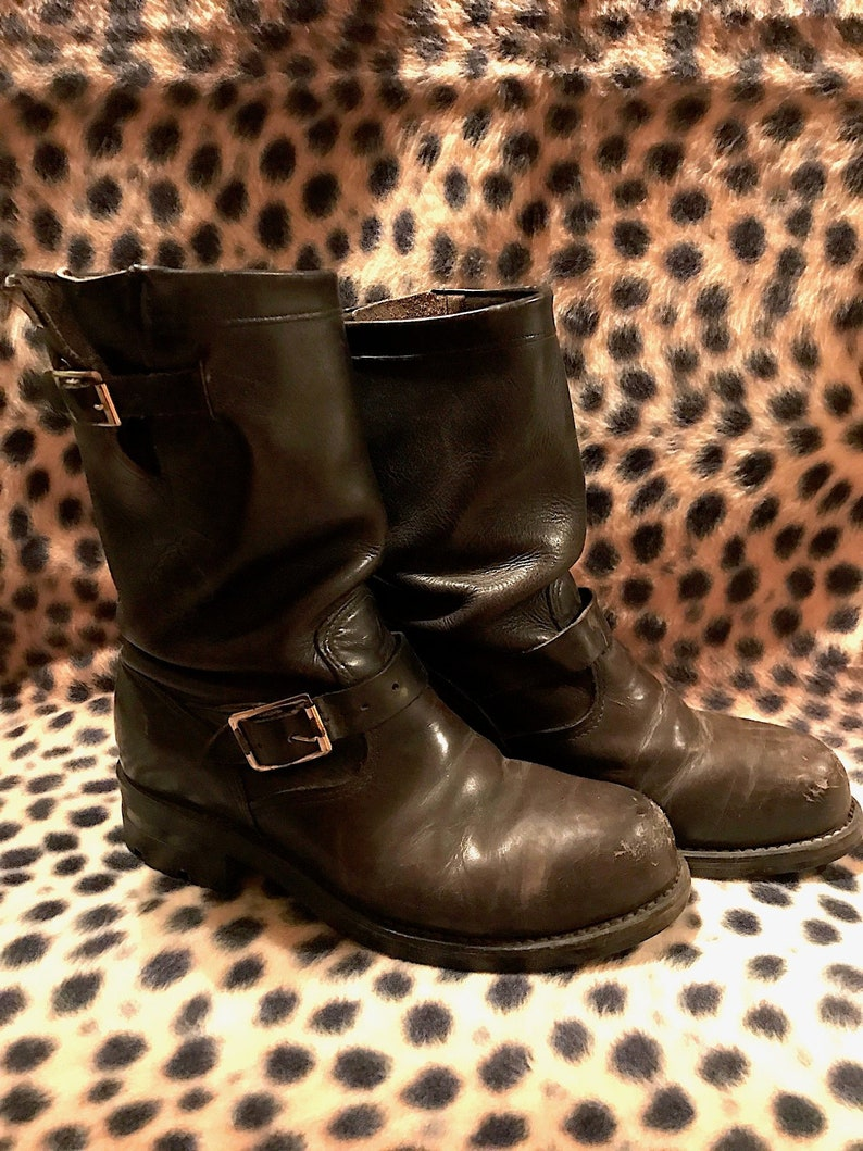 9b1646892c91 Vintage Black Leather Chippewa Engineer Motorcycle Boots