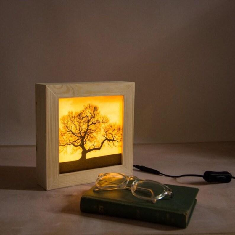 Bedroom lamp // LED lightbox // Dark tree night light // image 0