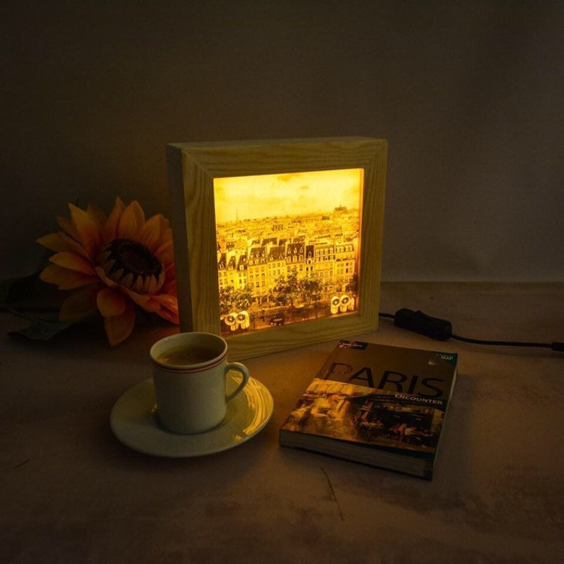 Bedroom lamp // LED lightbox // Paris night light // Bedroom image 0
