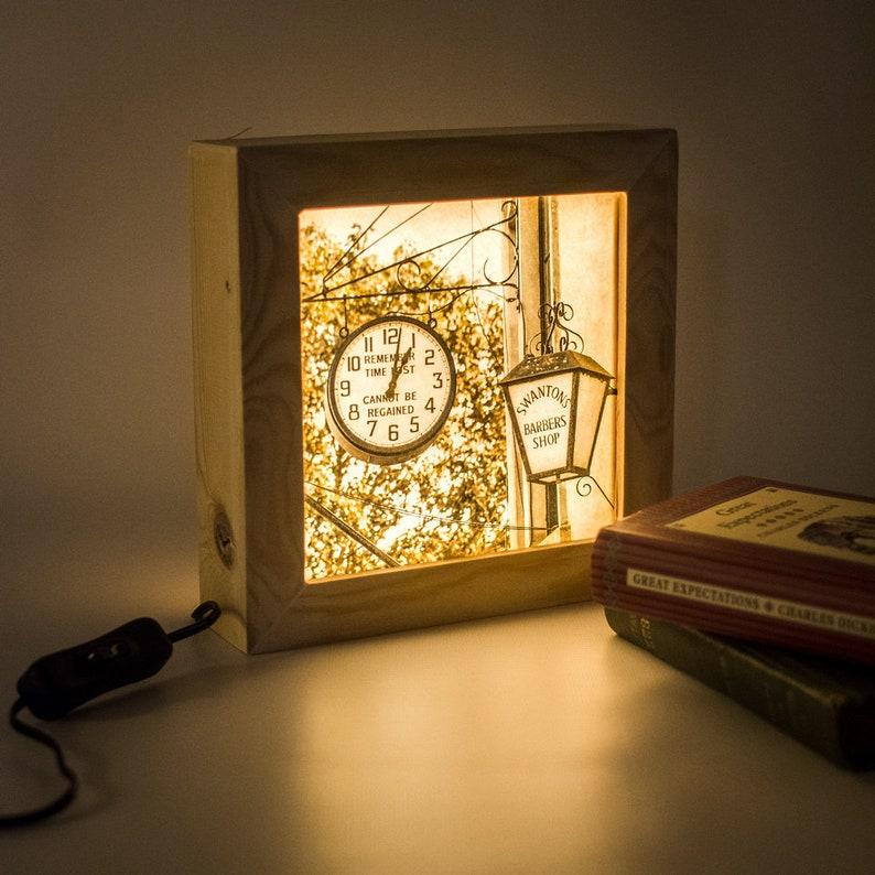 Wooden lightbox // Bedroom night light // Bedside table lamp image 0