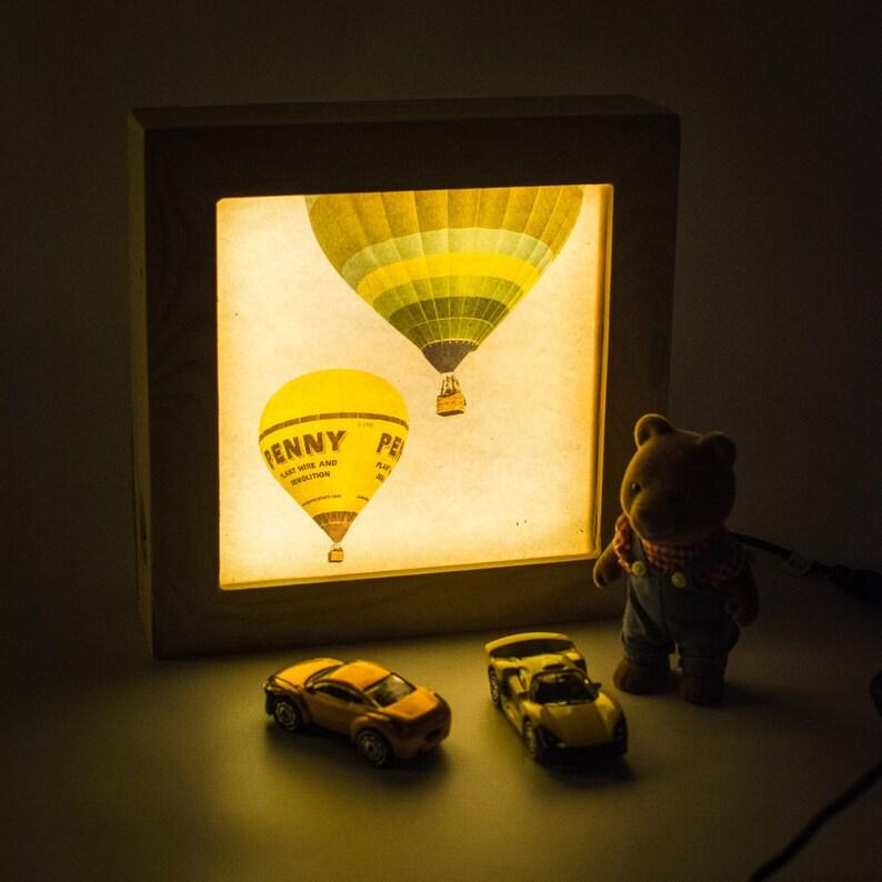 Hot air balloon lamp // Night light plug in // Bedside night image 0