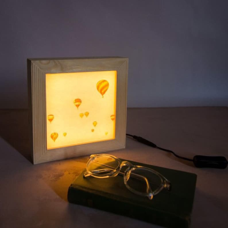 Hot air balloon lamp  Night light plug in  Bedside night image 0