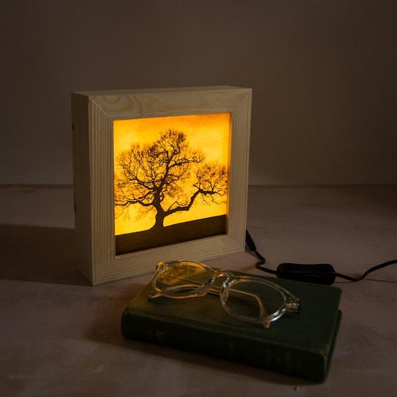 Bedroom Lamp Led Light Box Dark Tree Night Light Bedroom Etsy