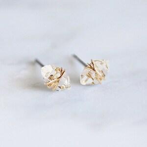 Hammered Teardrop Herkimer Diamond Quartz Post Earrings  Sterling Silver  Gold Filled   Minimal  Dainty Everyday Earrings