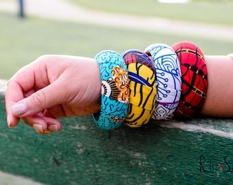 4 Ankara Fabric, Thick Layered Bangles Gift Set, Large Size African Ankara Kente bracelets, 20mm/30mm thickness, Cuff bracelet
