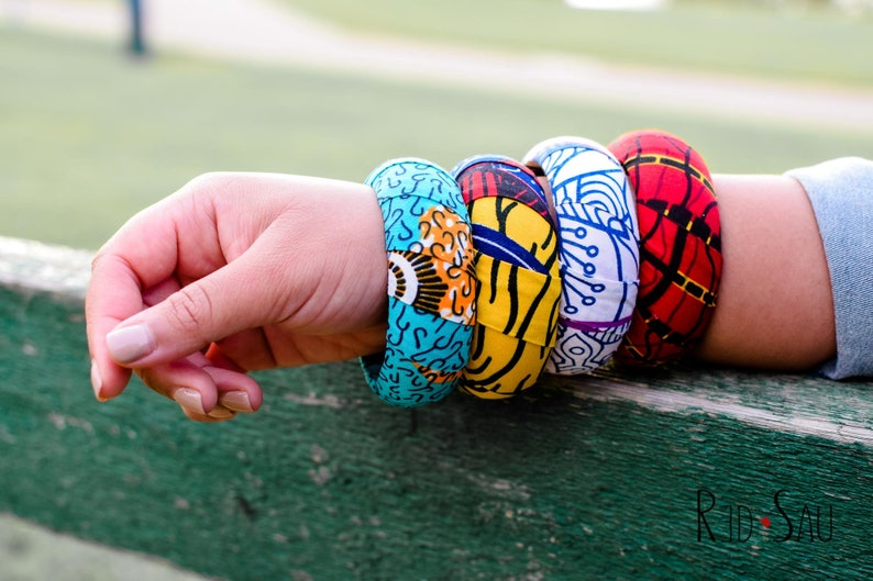 4 Ankara Fabric Thick Layered Bangles Gift Set Large Size image 1