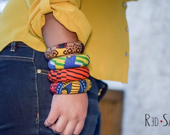Large Size African Bangle, Bracelets for woman, African Fashion, Tribal fashion, Thick Bangles, Kente Fabric, Ankara jewelry, fits big hands