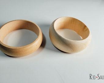 Natural Wood Bangles DIY | plain for paint night | thick retro bracelets