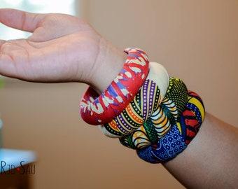 African Bangle Jewelry, Mix & match Batik Ankara Kente, XL large size