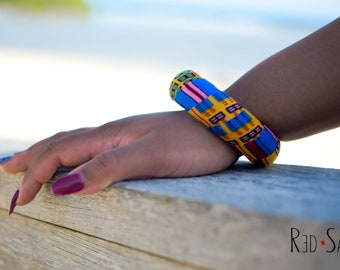Bright Colored African Kente Bangle | Accessories For Her | Boho Thick Africa Ankara Fabric Bracelet | Large Size | Inner Diameter 7.1-7.3cm