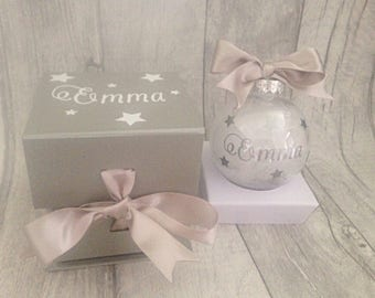 Personalised christmas bauble, new baby christmas, babys first christmas, newlywed christmas
