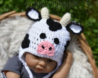 Cream Rust Black Button Eyes Baby Cow Hat Moo Crochet Toddler Teen Adult Child Earflaps