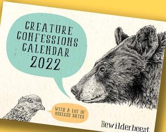 Creature Confessions Calendar 2022 - Animals Calendar - Funny Calendar - Wall Calendar 2022 - Kitchen Calendar