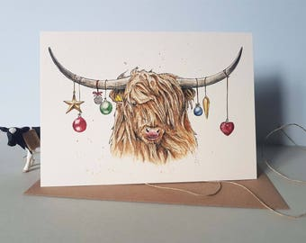 Holiday card cow | Etsy