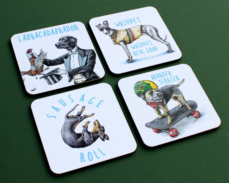 Funny Dog Coasters Set Four Coasters image 0