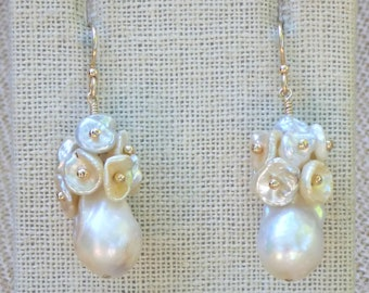Creamy White Large Baroque Pearls with White and Creme Keishi Pearl Dangles Earrings