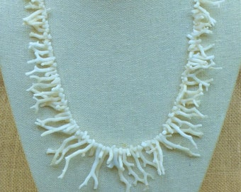 White Coral Branches Necklace, Rare and Vintage Italian Coral Branches, Old Stock Coral Branches from the 1970's - OOAK Necklace