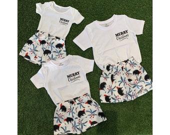 Christmas Shorts Tshirt Australian Animals Matching Sibling xmas outfit pyjamas pajamas baby toddler kid children unisex summer