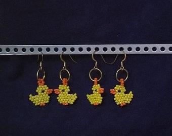 Beaded Yellow Duck earrings