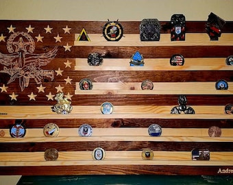 American Flag Challenge Coin Display Swat Logo