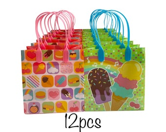 12pcs Ice Cream Rainbow Party Favor Goodie Treat Bags