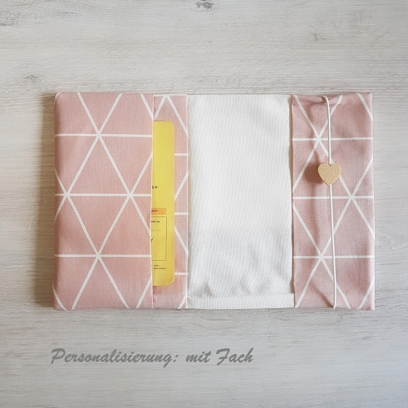 geometric Mother passport sleeve with extra compartment cotton mother child passport sleeve pink grey faux leather name