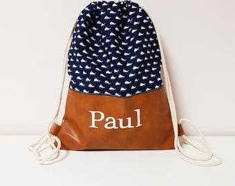 Gym bag, children's gym bag, nursery gym bag with name, whales, maritim, faux leather, brown, blue