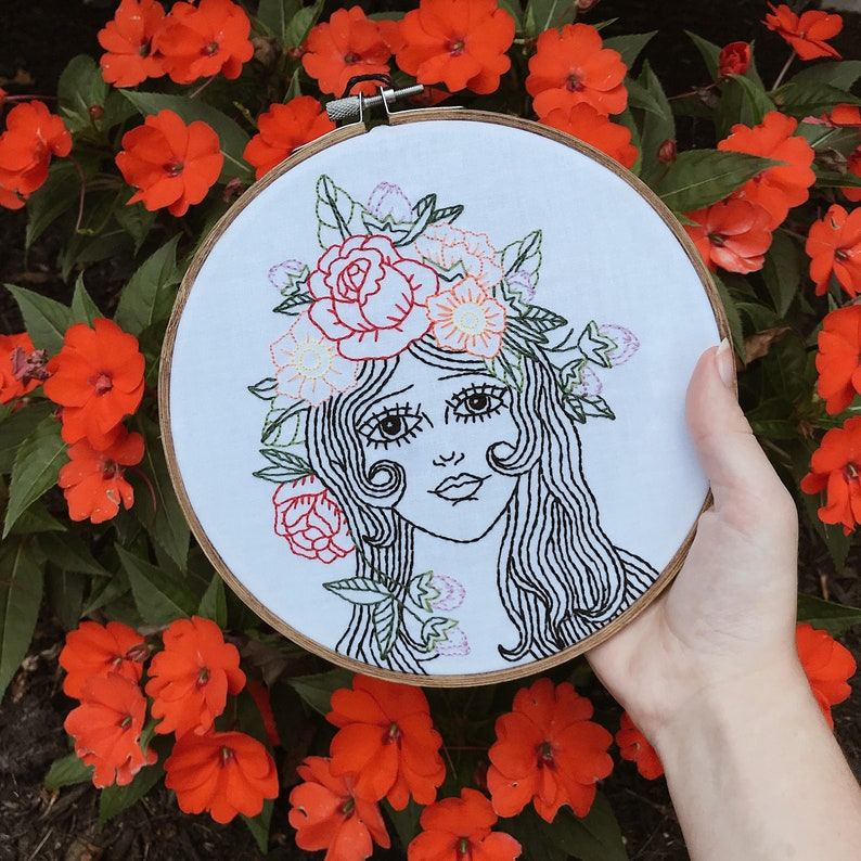 American Traditional Tattoo Portrait Embroidery Flower Crown Etsy