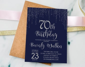 70th Birthday Invitation Navy Silver Blue And InviteAny Age Women InvitationPersonalized 38