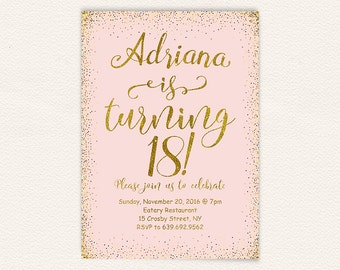 18th Birthday Pink And Gold Party Invitation Printable 18 Years Oldhappy 27