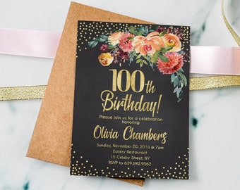 Chalkboard Birthday Invite PERSONALIZED 100th Invitation Floral Women Digital File 5a