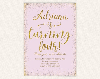 Gold And Purple Instant Download Party Invitation 4th Birthday Fourth Printable 45