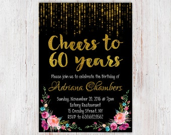 60th Birthday Invitation Happy Adult Floral Black And Gold Sixty Watercolor 91