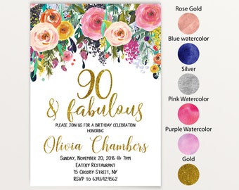 90th birthday invitations etsy 90th birthday gold glitter 90th birthday party adult birthday 90 birthday birthday invitationhappy 90 yrs ago today 80th birthday 117 filmwisefo