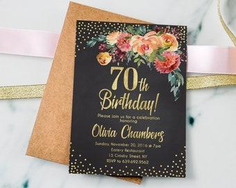 Floral Women Birthday Invitation Chalkboard Invite 70th PERSONALIZED Digital File 2a