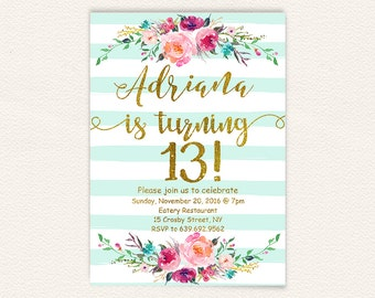 13th birthday invitations girl mint stripes gold glitter etsy floral 13th birthday invitations girl mint stripes gold glitter teen birthday party invites turquoise watercolor shabby rustic stripes 30a filmwisefo