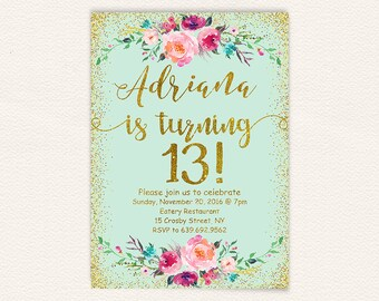 13th birthday invitation for girl pink gold teen birthday etsy turquoise gold glitter printable floral 13th birthday party invitation birthday party invitations teen girl mint and gold chic digital 1a filmwisefo