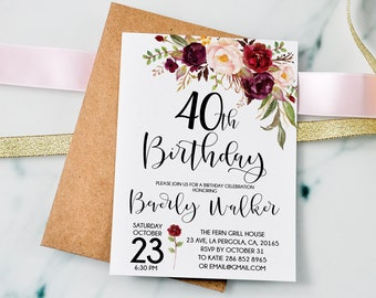 40th Birthday Invitation Any Age Women Floral Burgundy Marsala