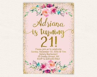 Floral 21st birthday invitation, blush pink and gold glitter digital printable birthday party invite for women, simple modern 5x7 jpg 13a