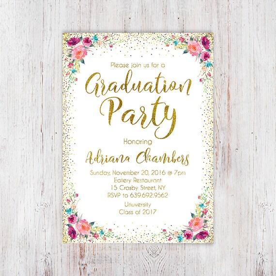 Gold Graduation Invitation Graduation Gold Invitation Etsy